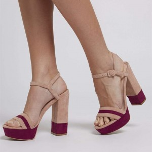 Burgundy and Khaki Open Toe Slingback Sandals Suede Block Heel Sandals
