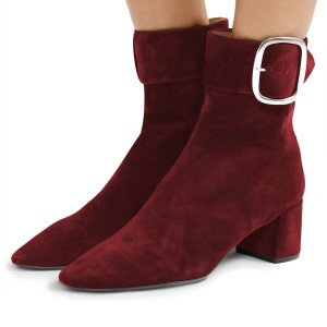 Burgundy Buckle Chunky Heel Boots Ankle Boots