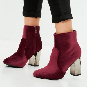 Burgundy Short Velvet Boots Closed Toe Chunky Heel Ankle Boots