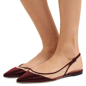 Burgundy Clear PVC Flat Slingback Pumps