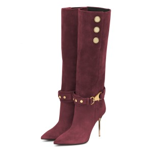 Burgundy Fall Boots Suede Calf Length Stiletto Heel Fashion Boots