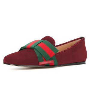 Burgundy Flat Loafers for Women with Green and Red Bow