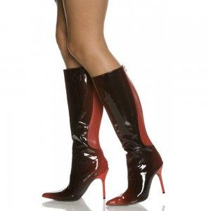 Burgundy Gradient Color Stiletto Boots Sexy Pointy Toe Knee-high Boots