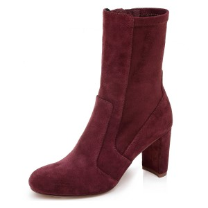 Burgundy Joint Ankle Boot chunky Heel Boots