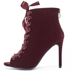 Burgundy Lace up Boots Peep Toe Stiletto Heels Ankle Booties