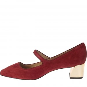 Maroon Mary Jane Pumps Block Heel Vintage Shoes