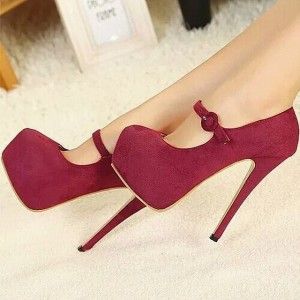 Women's Burgundy Mary Jane Pumps Suede Vintage Heels with Platform
