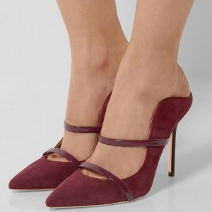 Women's Burgundy Stiletto Heels Suede Pointy Toe Strap Mules Sandals