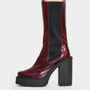Burgundy Oily Leather Platform Boots Chunky Heel Mid Calf Boots