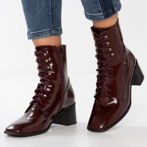 Maroon Patent Leather Square Toe Lace up Chunky Heels Ankle Booties