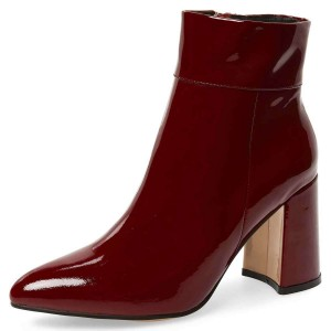 Burgundy Patent Leather Chunky Heel Boots Ankle Boots