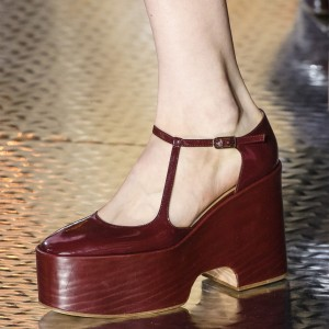 Burgundy Patent Leather Platform Wedge Heels Pumps