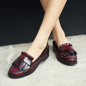 Burgundy Patent Leather Flat Round Toe Fringe Loafers for Women