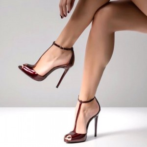 Burgundy Peep Toe Heels Pumps T Strap Stiletto Heel Sandals
