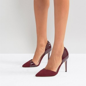 Burgundy Pointy Toe Joint Style Stiletto Heels Pumps