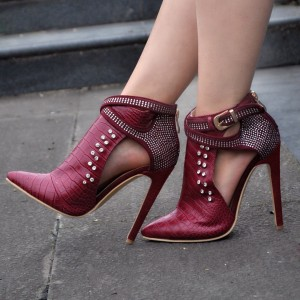 Burgundy Stiletto Boots Crocodile Grain Rhinestone Fashion Boots