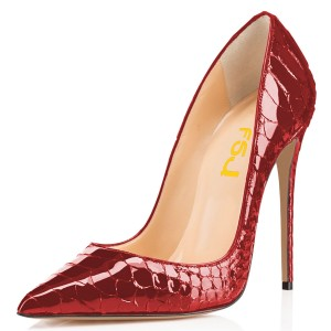 Burgundy Python Sexy Heels Pointy Toe Stiletto Heels Pumps