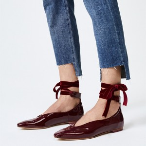 Burgundy Round Toe Comfortable Flats Strappy Ballet Shoes