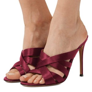 Burgundy Satin Strappy Mules