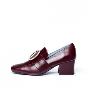 Burgundy Square Toe Block Heel Metal Circle Loafers for Women