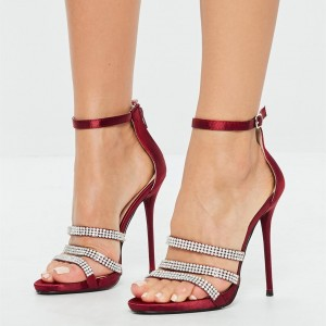 Burgundy Satin Rhinestone Heels Stiletto Heels Ankle Strap Sandals