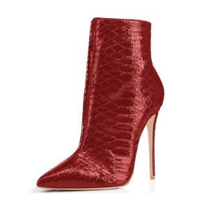 Red Ankle Booties Python Pointy Toe Fashion Stiletto Boots for Women