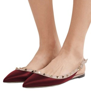 Burgundy Studs Flat Slingback Shoes