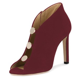 Burgundy Studs Stiletto Heel Peep Toe Booties