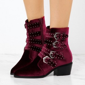 Burgundy Boots Studs Pointy Toe Low Heel Velvet Ankle Boots