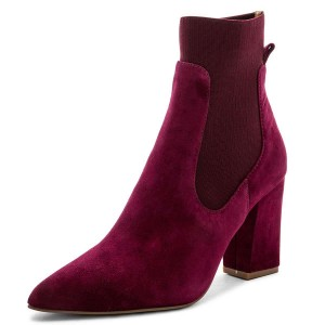 Burgundy Suede Chelsea Boots Chunky Heel Ankle Boots