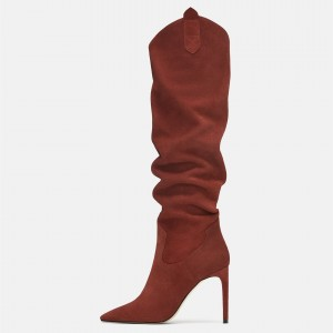 Maroon Tall Boots Pointy Toe Stiletto Heel Suede Slouch Boots