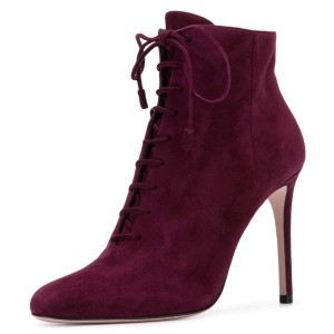 Burgundy Suede Stiletto Heel Lace Up Boots