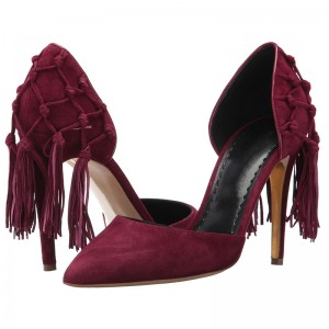 Burgundy Suede Tassel Stiletto Heels Dorsay Pumps
