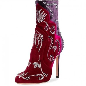 Wine Red Velvet Boots Embroidery Stiletto Heel Ankle Boots