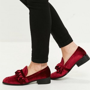 Burgundy Round Toe Velvet Frill Block Heels Loafers for Women