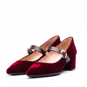 Burgundy Velvet Pointy Toe Mary Jane Shoes Block Heels Pumps