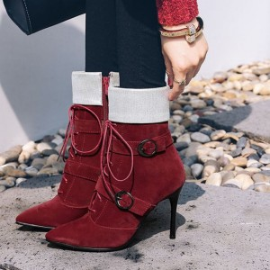 Burgundy Vintage Boots Pointed Toe Suede Buckle Stiletto Ankle Boots