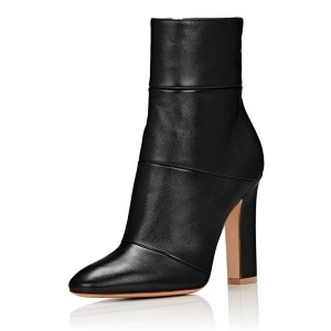 Women's Black Side Zip-Up Almond Toe Ankle Chunky Heel Boots