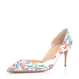 Women's Lillian White Floral Heels Dorsay Pumps