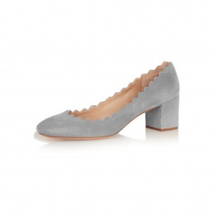 Grey Block Heels Suede Shoes Round Toe Casual Pumps