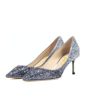 Silver Wedding Shoes Glitter Pointy Toe Kitten Heel Sparkly Pumps