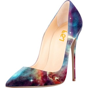 Women's Night Sky Pointy Toe Stiletto Heels Suede Pumps