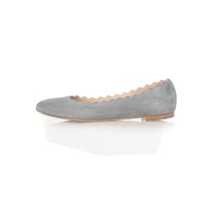 Grey Suede Round Toe Flats Casual Shoes for Women