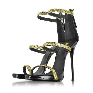 Golden Glitter Stiletto Heel Gladiator Sandals