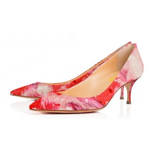 Coral Red Low-cut Abstract Painting Pointed Toe Kitten Heel Pumps