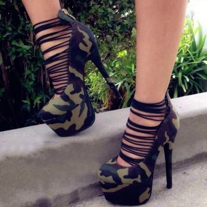 Camouflage Strappy Heels Platform High Heel Shoes
