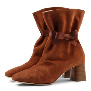 Caramel Colour Suede Boots Squre Toe Chunky Heel Slip on Ankle Boots