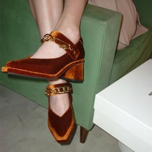 Caramel Velvet Platform Chains Mary Jane Pumps Block Heel Pump