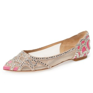 Champagne and Pink Wedding Shoes Pointy Toe Rhinestone Flats