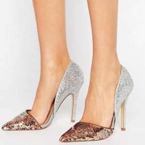 Champagne and Silver Sequined Sparkly Heels Pointy Toe Pumps